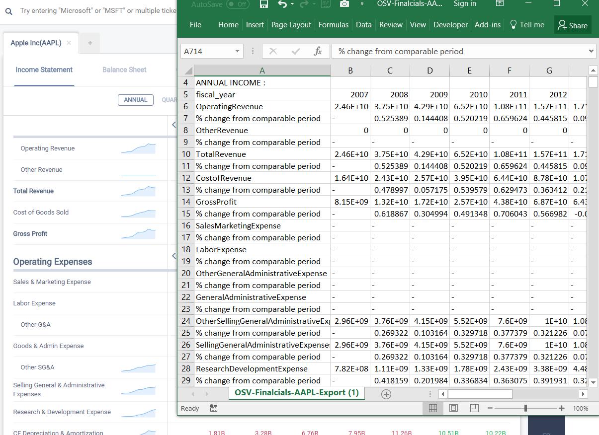 Dense Financial Statement Data Export
