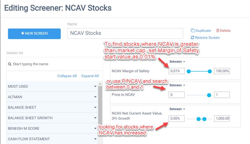 NCAV Screener Settings