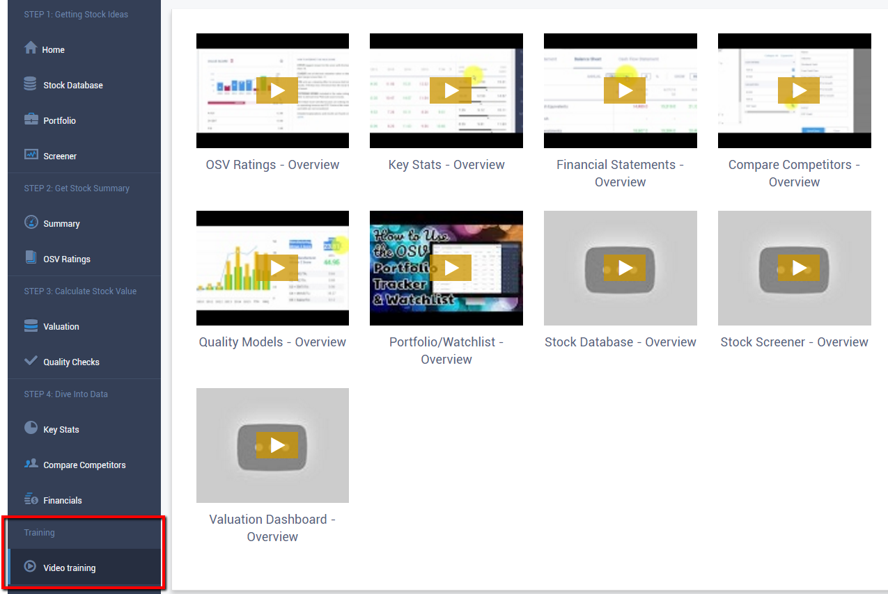 new OSV Online video training page