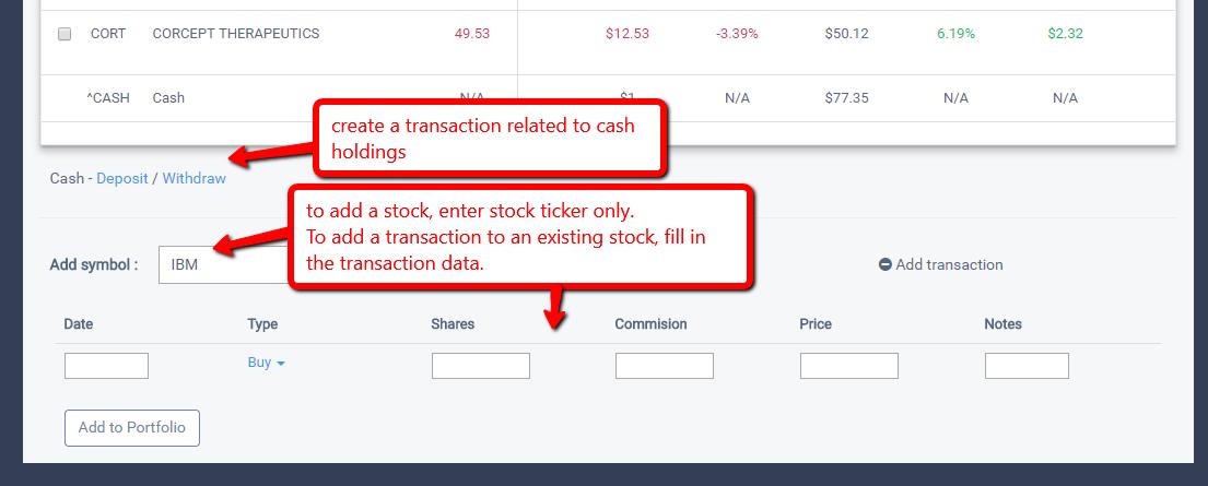 stock portfolio add stocks and transactions